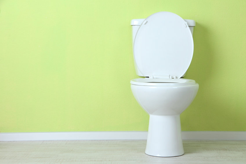 slow draining and flushing toilet